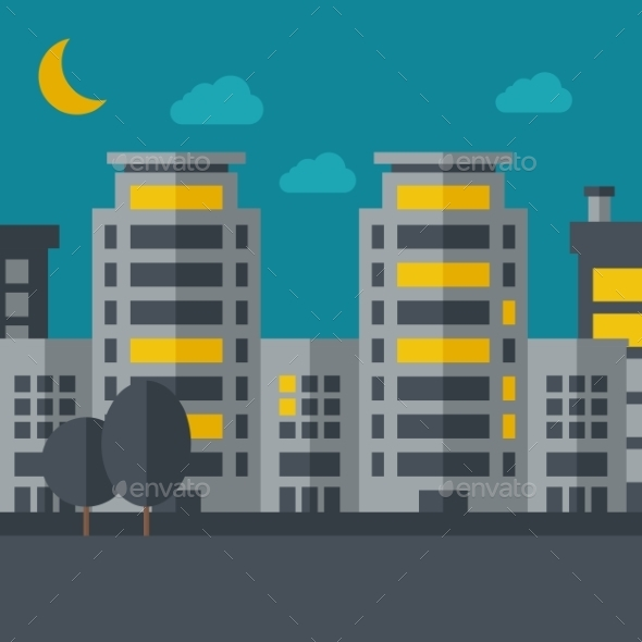 Night Scenery Of Building City With Moon - Buildings Objects