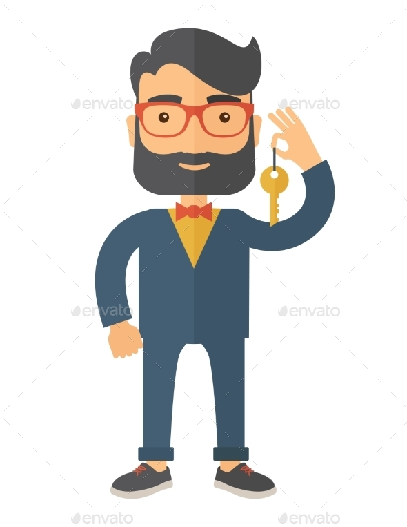 Business Man Holding a Golden Key. - People Characters