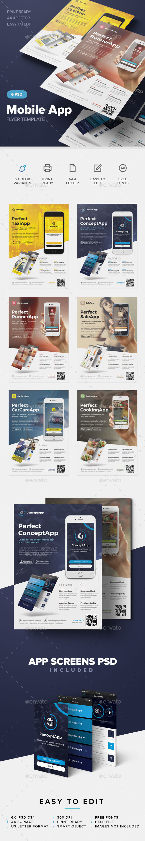 mobile app flyer template by artmotion graphicriver