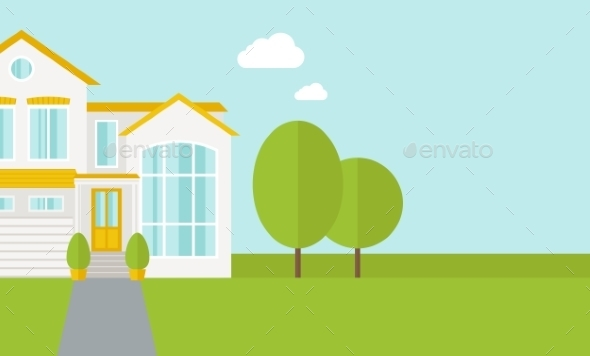 Big House With Trees - Backgrounds Decorative