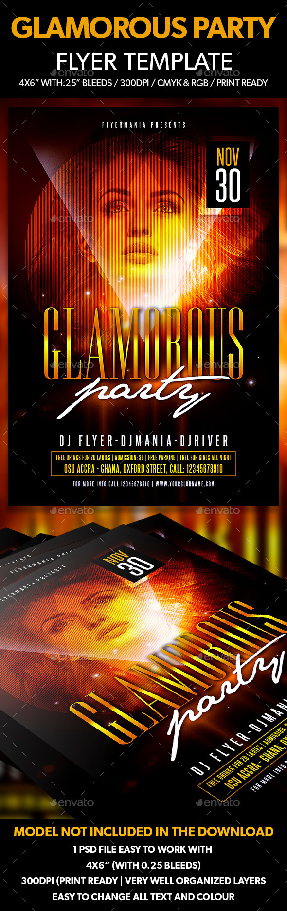 Glamorous Party Flyer Template - Flyers Print Templates