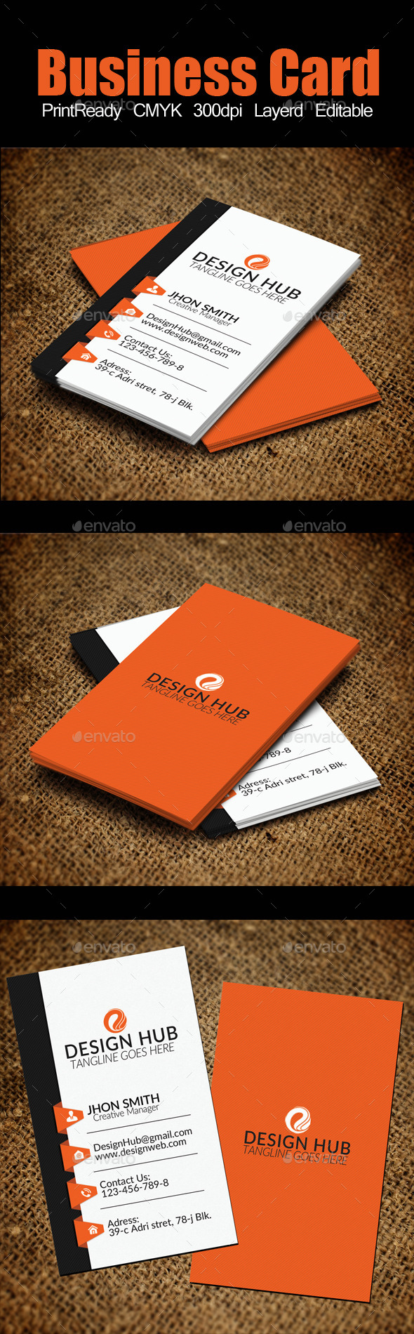 Vertical Business Card Template By Designhub GraphicRiver - Vertical business card template