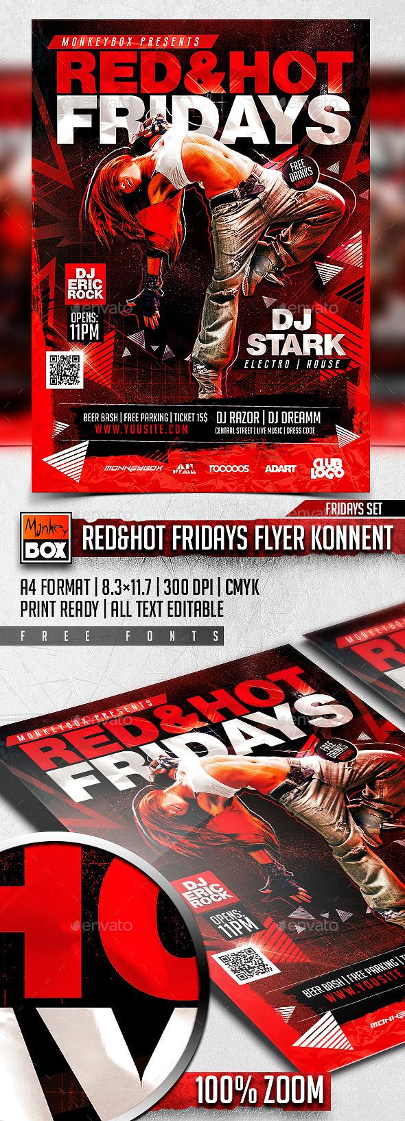 Red&Hot Fridays Flyer Konnekt - Clubs & Parties Events