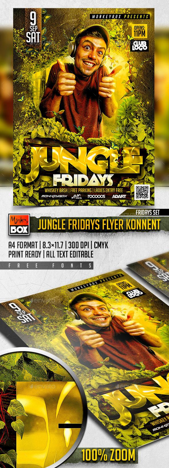 Jungle Fridays Flyer Konnekt - Clubs & Parties Events