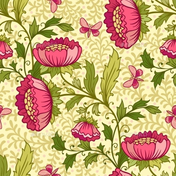 Floral Pattern With Flowers And Butterflies