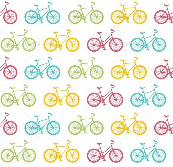 Bike Seamless Pattern White. Vector - Patterns Decorative