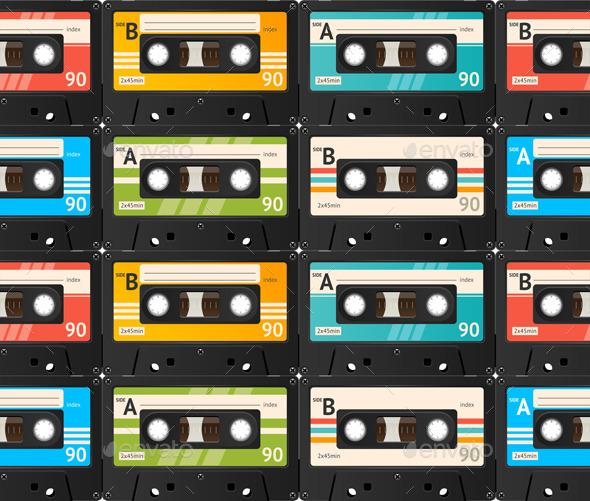 Cassette Tape Background. Vector - Backgrounds Decorative