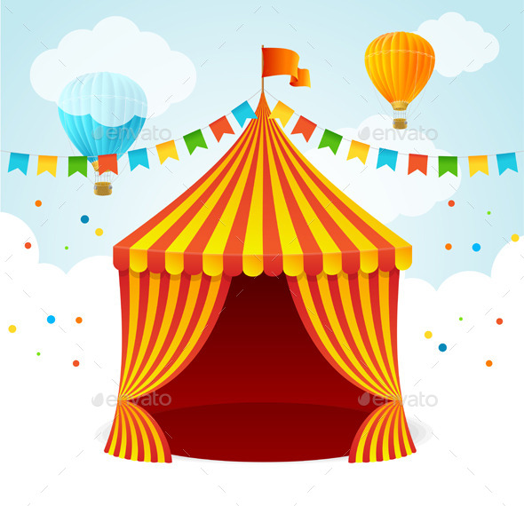 Circus Card. Vector - Miscellaneous Seasons/Holidays