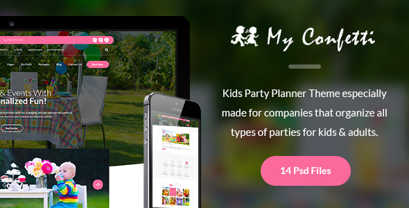 My Confetti Kids Party Planner PSD Template