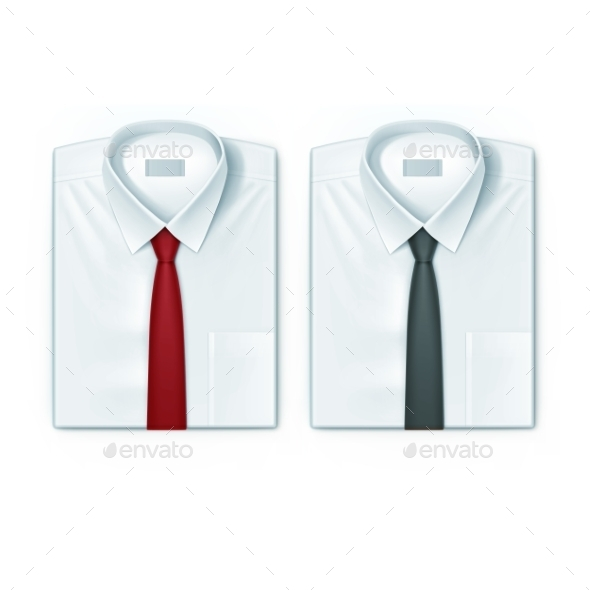 Classic Men Shirts Set With Red And Black Ties