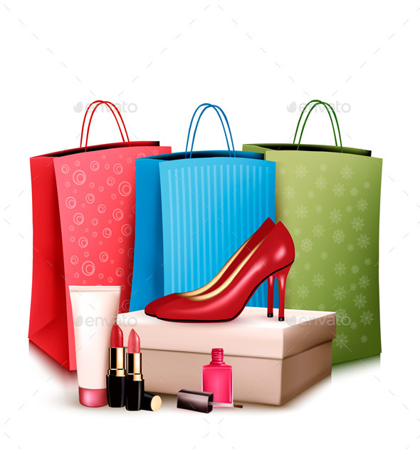 Red Shoes and Cosmetics with Colorful Shopping  - Retail Commercial / Shopping