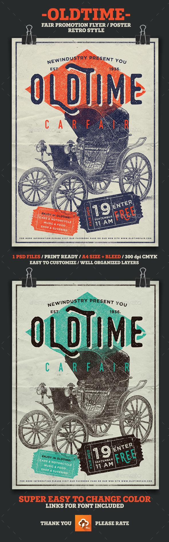 Oldtime Car Fair Poster/Flyer - Events Flyers