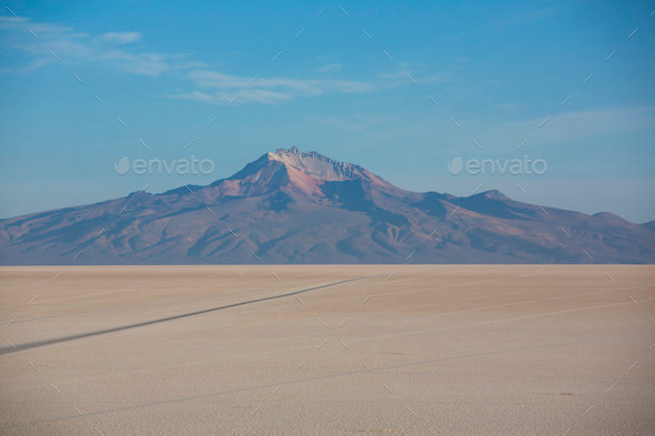Panorama of the Salar of Uyuni with blue sky, Bolivia - Stock Photo - Images