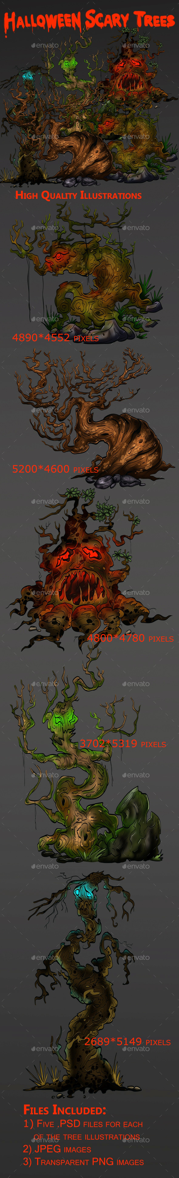 Halloween Scary Trees Set - Illustrations Graphics