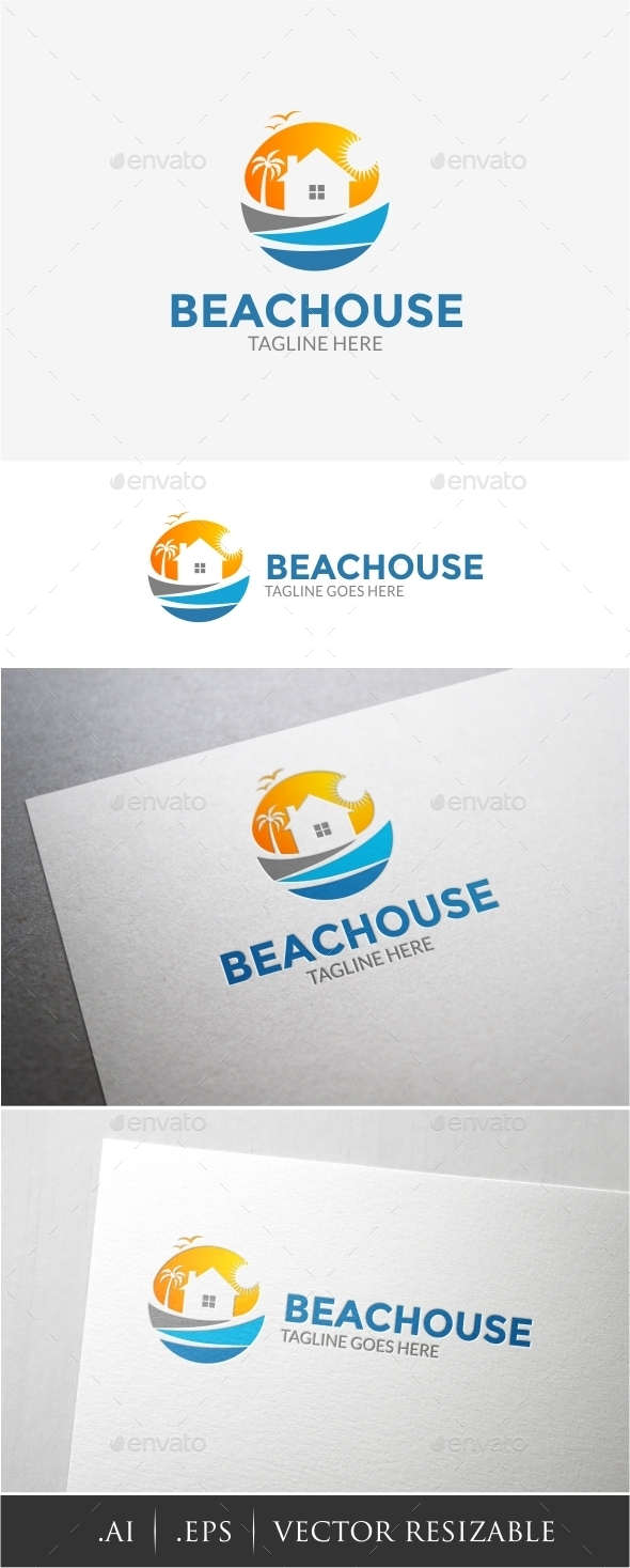 Beach House Logo - Buildings Logo Templates