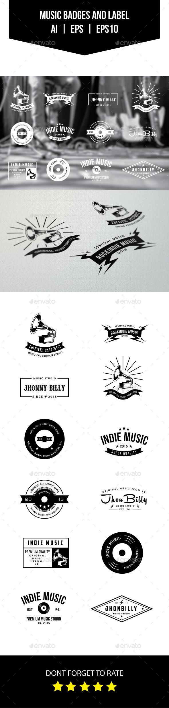 Music Badges dan Label / Logos - Badges & Stickers Web Elements