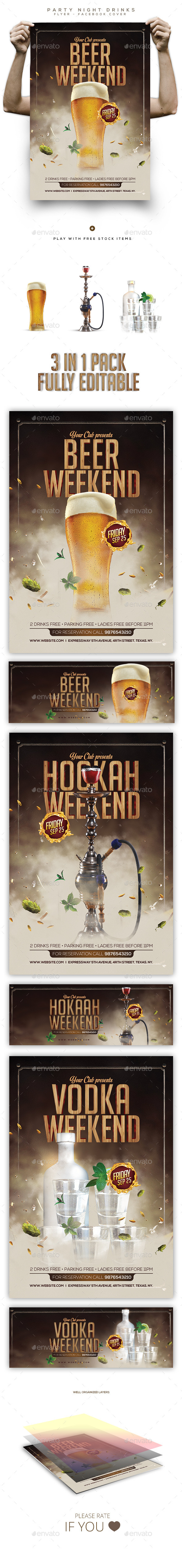 Party Drinks Flyer / Poster / Facebook Cover - Clubs & Parties Events