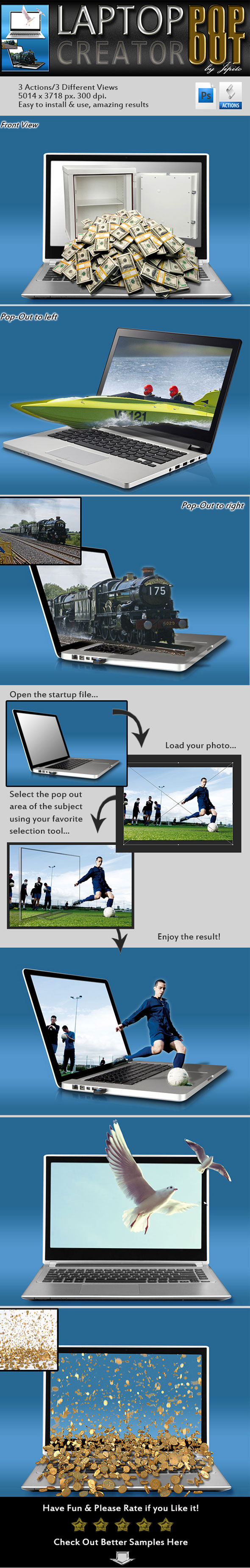 Laptop Pop-Out Creator - Photo Effects Actions
