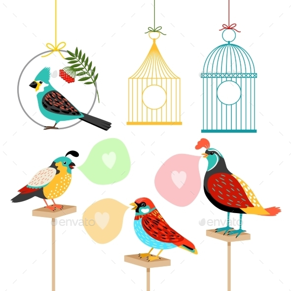 Song Birds With Speech Bubbles - Miscellaneous Vectors