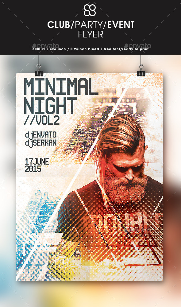 Minimal Night Flyer Design - Clubs & Parties Events