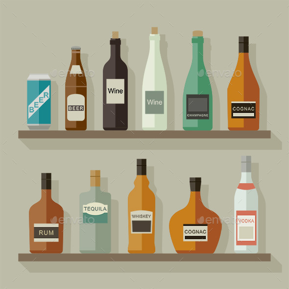 Flat Icons Alcoholic Beverages - Man-made Objects Objects