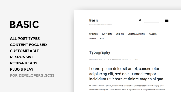 Basic 3.0 – Responsive Portfolio Tumblr Theme
