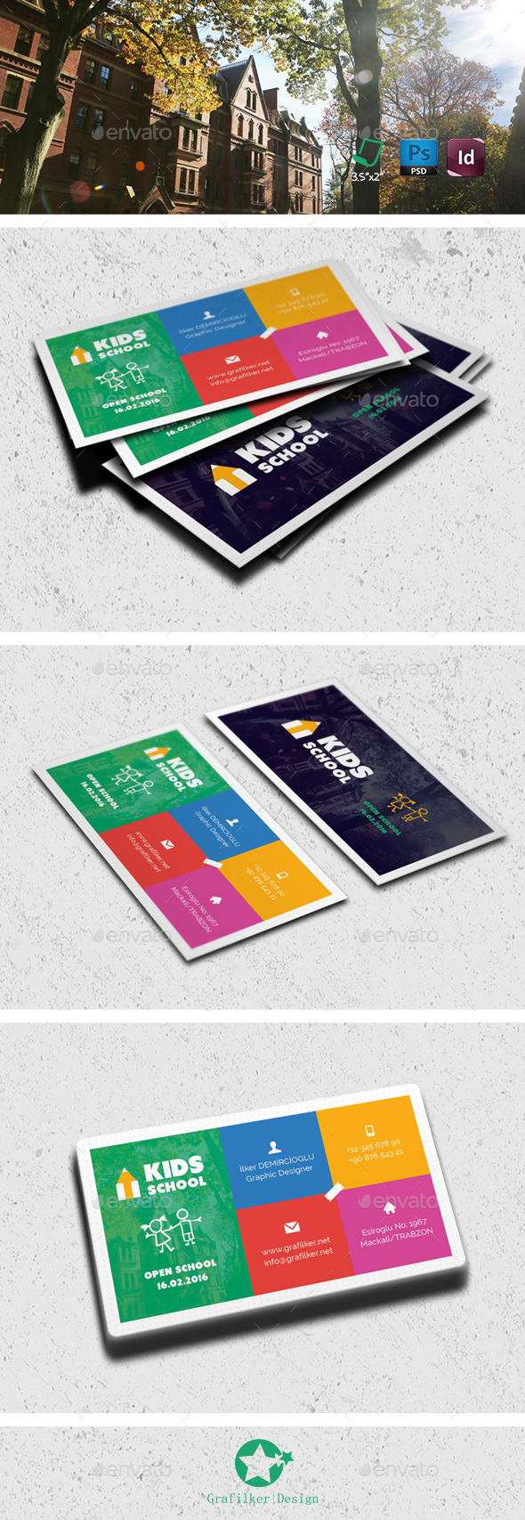 school business card templates by grafilker