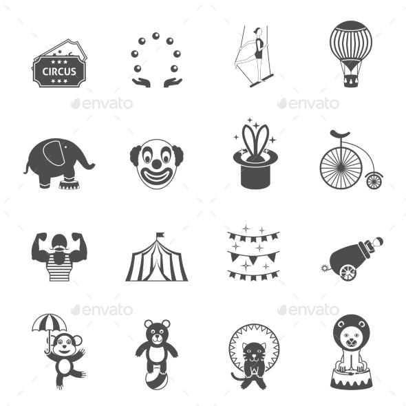Chapito Circus Icons Set Black - Miscellaneous Icons