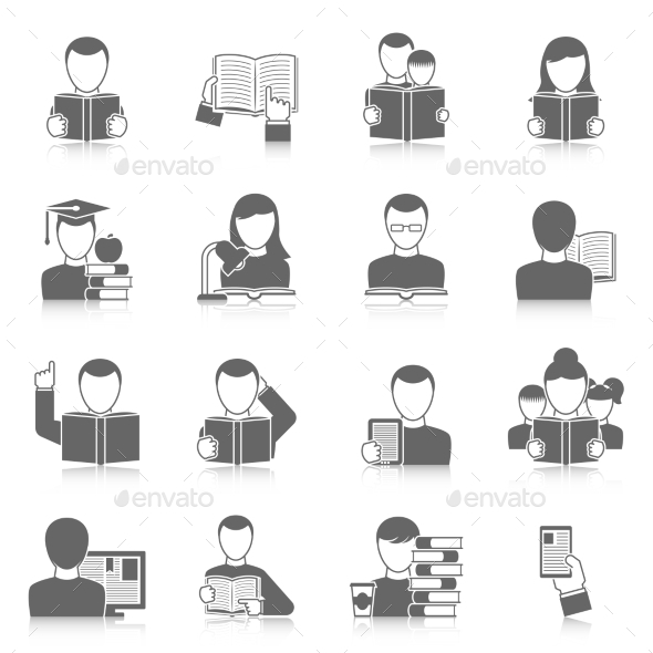 Books Icons Set - People Characters