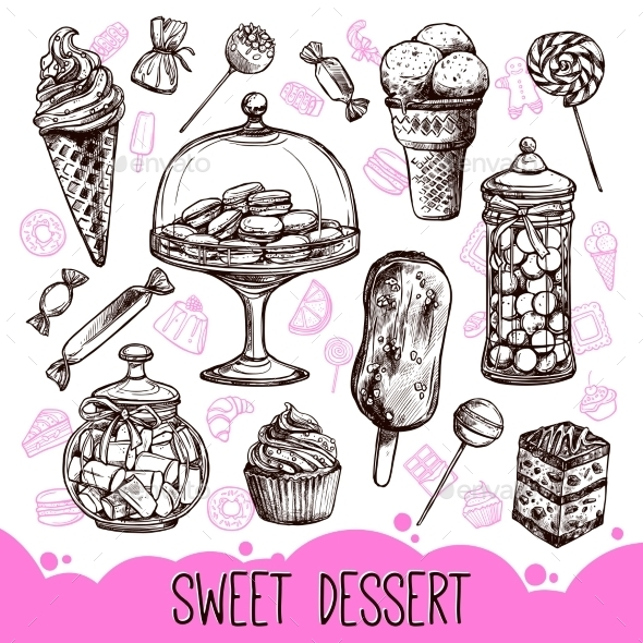 Sweet Dessert Set - Food Objects