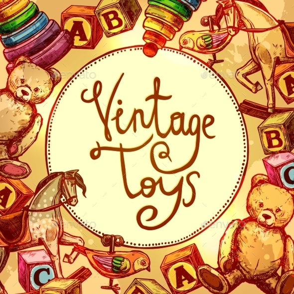 Vintage Toys Composition - Miscellaneous Vectors