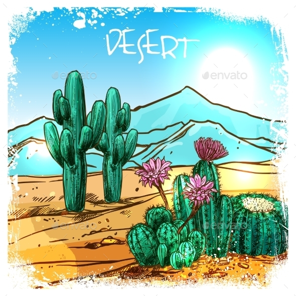 Cactus In Desert Sketch - Flowers & Plants Nature