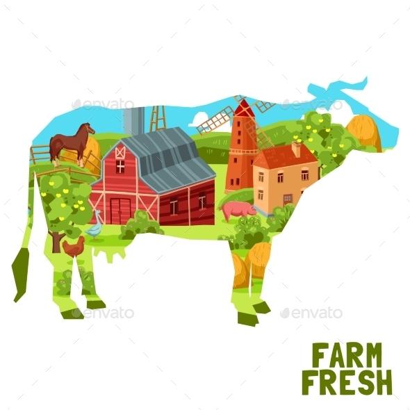 Farm Cow Concept - Nature Conceptual