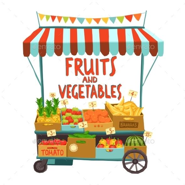Street Cart With Fruits - Food Objects