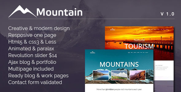 Mountain – Creative One Page Template