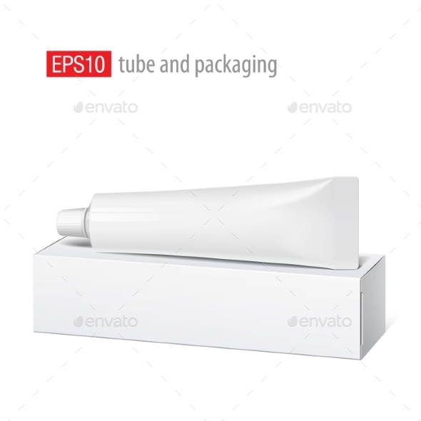 Realistic White Tube And Packaging. - Retail Commercial / Shopping