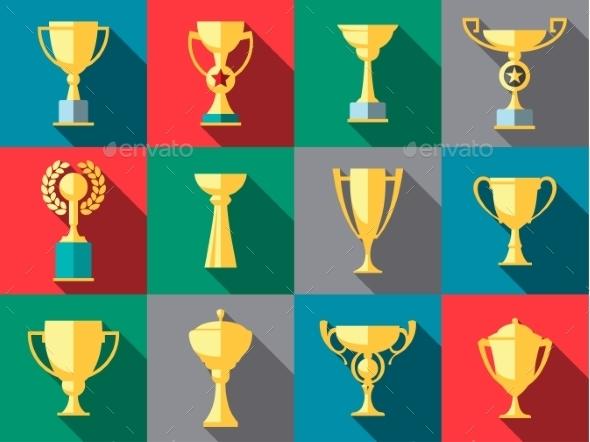 Trophy Icons. Winner Cup - Web Elements Vectors