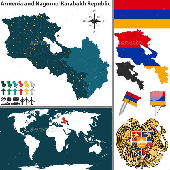 Map of Armenia and Nagorno Karabakh - Travel Conceptual