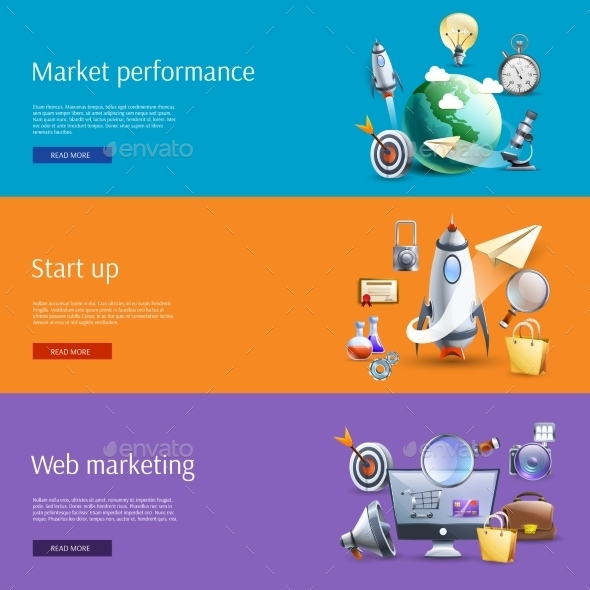 Start Up Marketing Flat Banners Set - Concepts Business