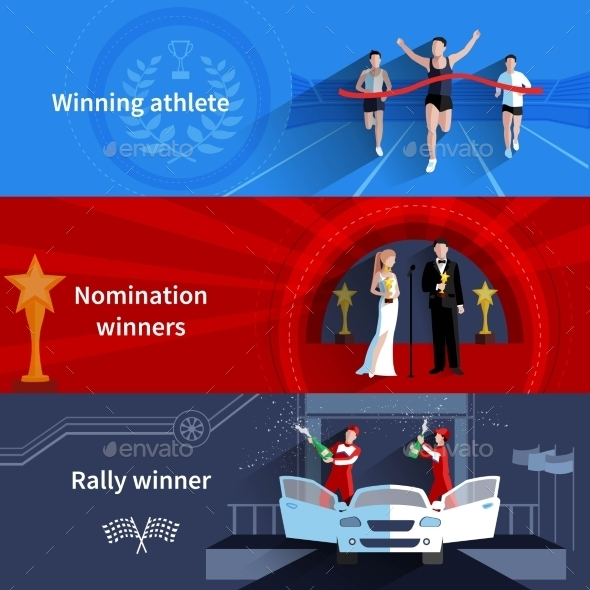 Sports And Nomination Winners Banners Set