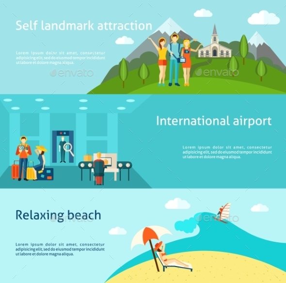 Tourism Travelling Horizontal Flat Banners Set - Travel Conceptual