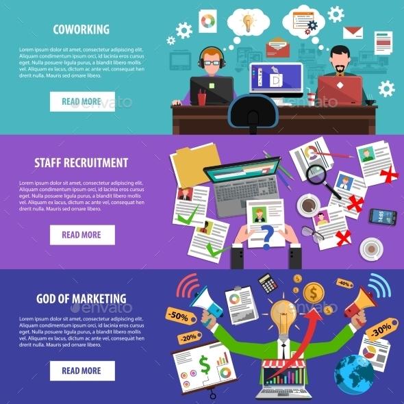 Freelance Recruitment Concept Flat Banners Set - Business Conceptual