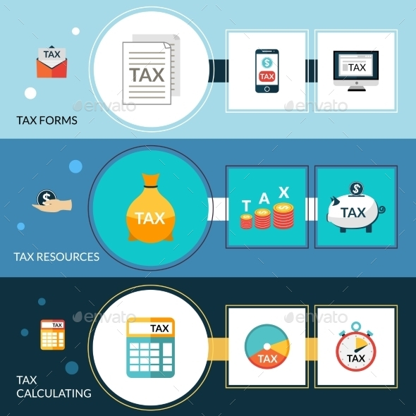 Tax Banner Set - Business Conceptual