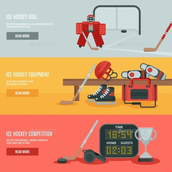 Ice Hockey Banners Set  - Sports/Activity Conceptual