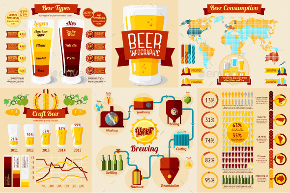 Set Of Beer Infographic Elements With Icons - Infographics