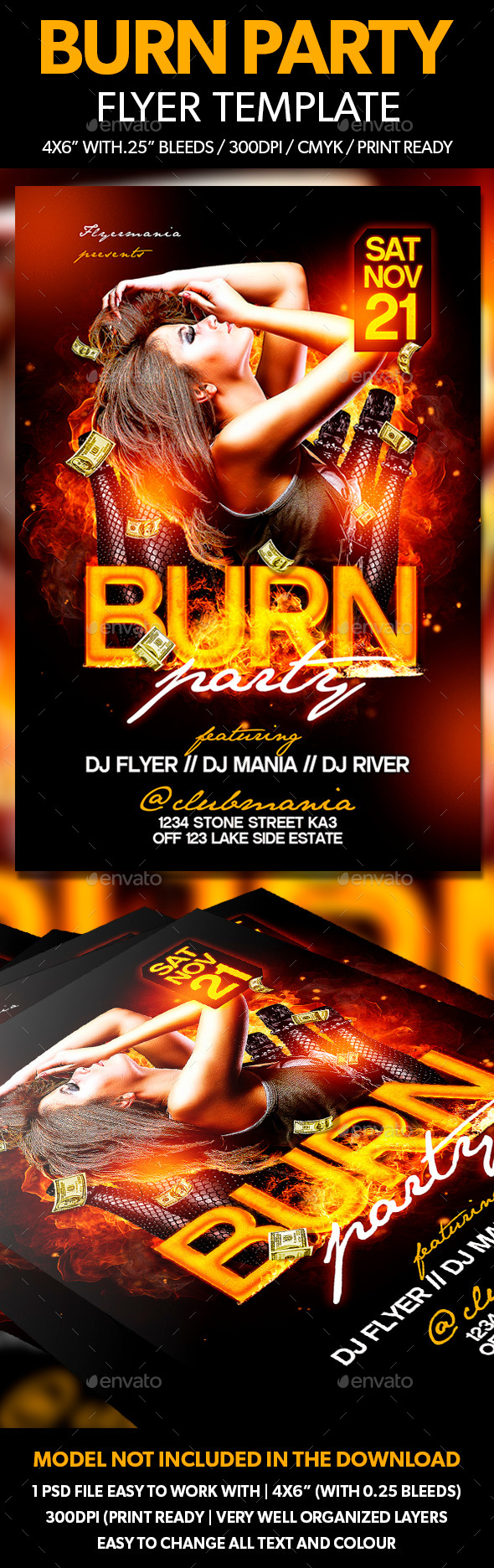 Burn Party Flyer Template - Clubs & Parties Events