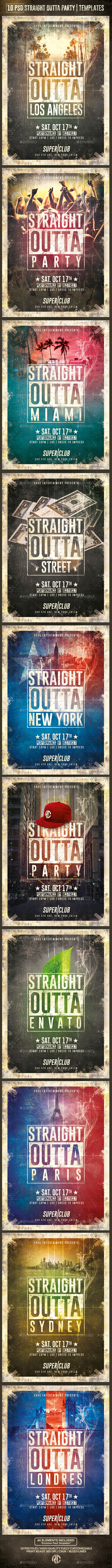 10 Flyers Straight Outta Party | Psd Templates - Events Flyers