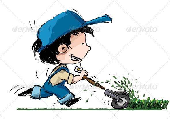 Boy Cutting Lawn - Characters Vectors