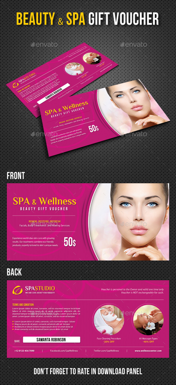 Spa and Wellness Gift Voucher V02 - Cards & Invites Print Templates