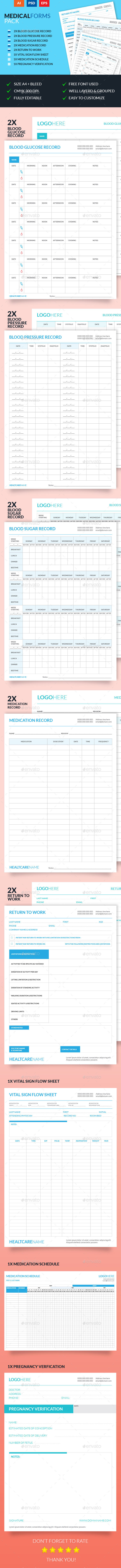 Medical Forms Pack - Miscellaneous Print Templates